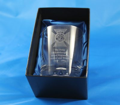 Single Whisky Glass In A Presentation Box Engraved with The Duke Of Edinburghs Royal Regiment Cap Badge