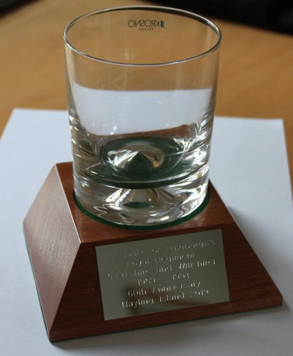 Whisky Glass Engraved with The Duke of Edinburghs Royal Regiment Badge on a wooden plinth with engraved Plate