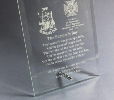 Engraved Duke of Edinburghs Royal Regiment Plaque