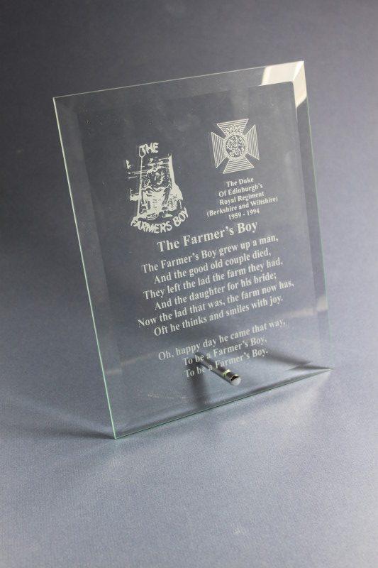 Engraved Duke of Edinburghs Royal Regiment Plaque