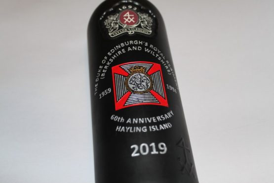 Regimental Engraved Port Bottle for The Duke of Edinburgh'Royal Regiment in a wood Gift Box