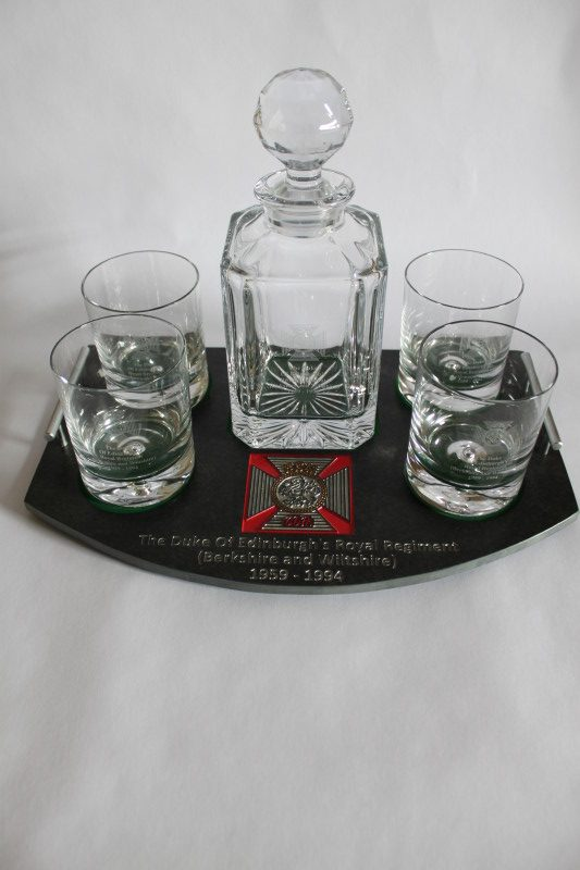 5 Piece Decanter Set on a Slate Base Engraved with The Duke of Edinburgh's Royal Regiment Badge