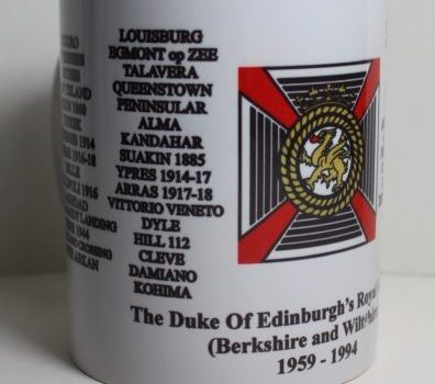 11oz White Mug with Dukes of Edinburgh's Royal Regiment Badge and Battle honours