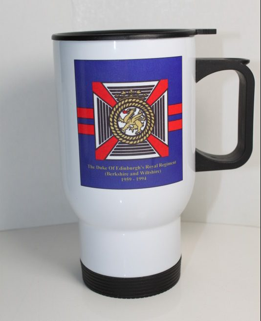 14oz Thermal Mugs printed with Dukes badge front and Back