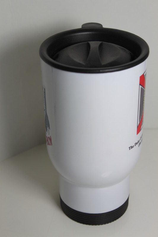 14oz Thermal Mugs printed with Dukes badge front, Farmers boy front