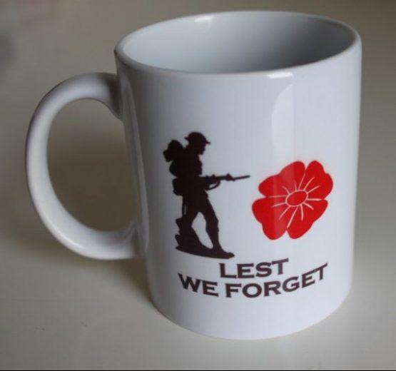 11oz White Mug Lest We Forget with Duke of Edinburgh's Royal Regiment Badge