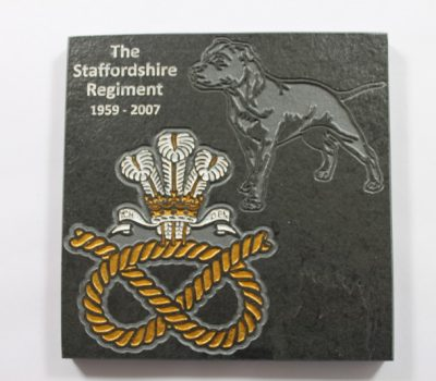 The Staffordshire Regiment Slate coaster 125mm x 125mm Badge and Watchman