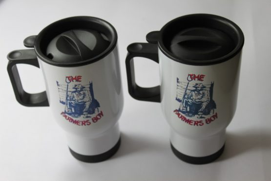 14oz Thermal Mug printed with Dukes Stable Belt badge