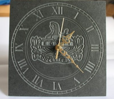 Gloucestershire Regiment Freestanding Slate Clock 22cm x 22cm x 10mm
