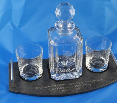 Complete 3 Piece decanter set on slate base Duke of Edinburgh's Royal Regiment.