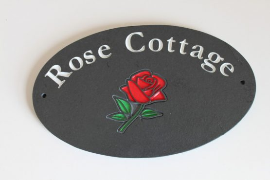 Oval House Name Plate With Rose 250mm x 150mm x 10mm